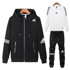 阿迪达斯/adidas 秋季运动套装男女纯棉休闲跑步服连帽外套情侣长袖三件套